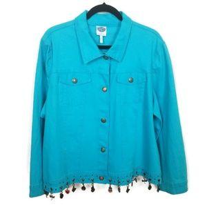 DG2 Turquoise Denim Jacket   Size 2X